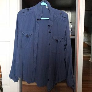 blue women's button down shirt sz XL